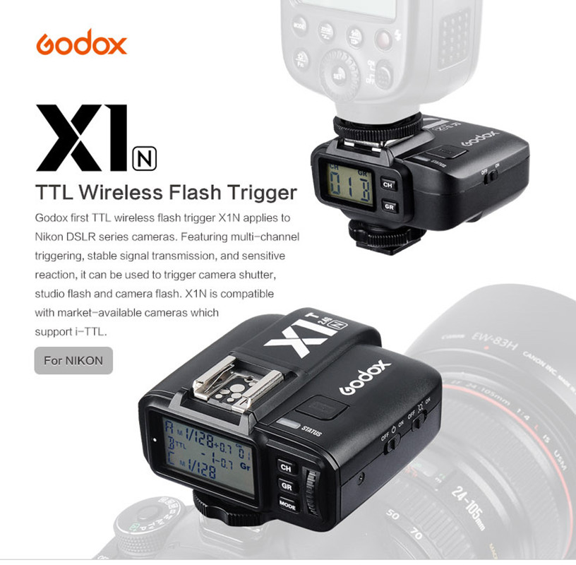 Godox X1N 2.4G i-TTL Wireless Flash Trigger Receiver Transmitter Kit for Nikon Camera i ttl wireless flash radio trigger kit transmitter receiver for nikon sb910 sb900 sb700 speedlight photo studio light camera