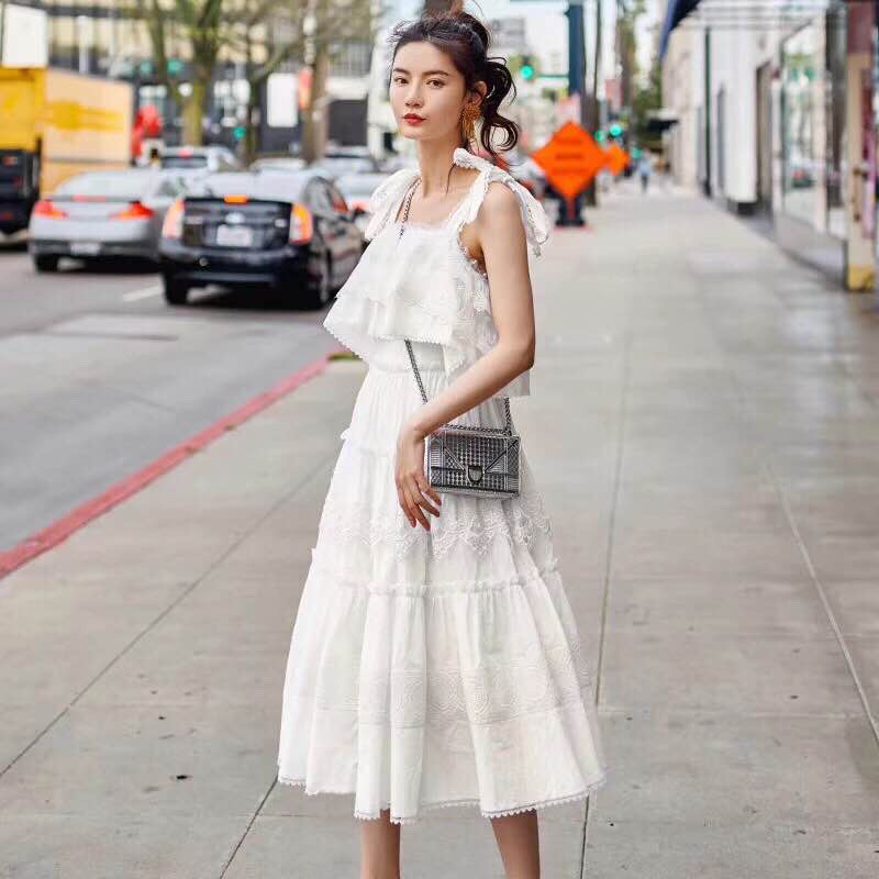 2018 Casual Ladies Sleeveless Long Dress Women White Dress Vintage Luxury Spaghetti Straps Dress With Lace stylish spaghetti straps sleeveless lace up print women s dress