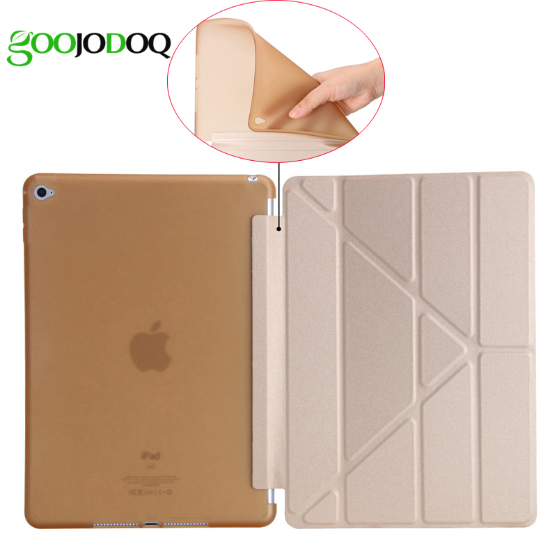 GOOJODOQ For iPad Air 2 Smart Case 5 Shapes Stand Ultra Thin TPU Soft Silicone Back Case + PU Leather Cover Auto Sleep/Wake UP zuandun flip smart case for ipad air 2 luxury leather stand silicon soft tpu back cover for ipad 6 tablet case auto wake sleep