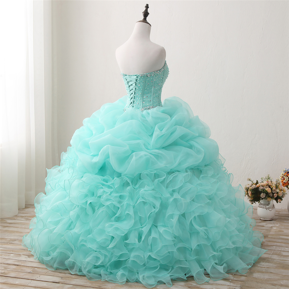 Bealegantom 2018 New Real Photo Mint Quinceanera Dresses Ball Gown - Հատուկ առիթի զգեստներ - Լուսանկար 6