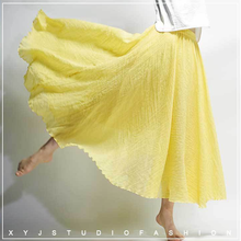 Womens Autumn 2019 New Fashion Cotton and Linen Skirt Solid Color National Wind Big Swing
