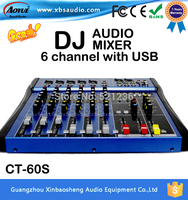 CT 60S/USB dj mixer professional amplifier mixer 6 channel audio mixer karaoke mixer KTV reverberation mixing console mesa dj