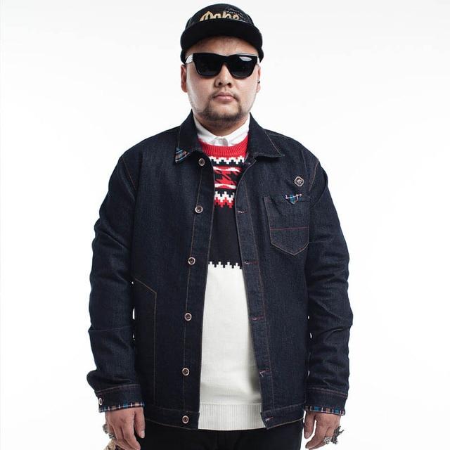 Plus Size Men S Denim Fleece Jacket Winter Warm Flannel Lined Inside