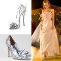 Zapatos de las mujeres Rhinestone zapatos de Tacón Alto más reciente cinderella primiere impresionantes gafas de zapatos de boda de plata de cristal joyas brillantes