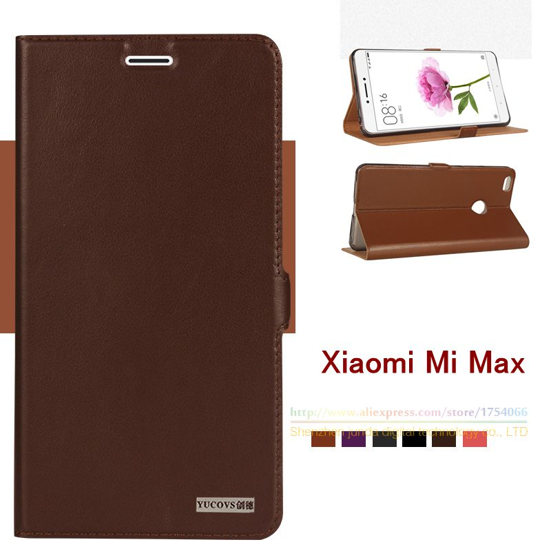 Top Quality Natural Genuine Leather Magnet Stand Card Flip Cover Case For Xiaomi Mi Max Mmax