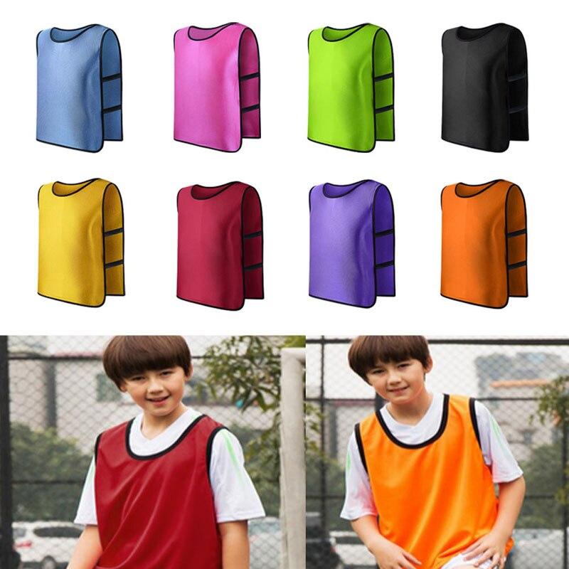 OOTDTY Hot Children Soccer Sweatshirt Soccer Team Vest Football Training Apron Train Strap Pants Vest Team Sports Vest