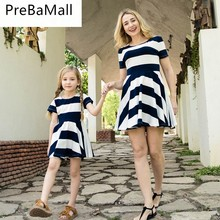 Summer Striped Family Look Outfits Women Baby Girls Kids Short Dress Mother Daughter Dresses Matching Family Clothes C58