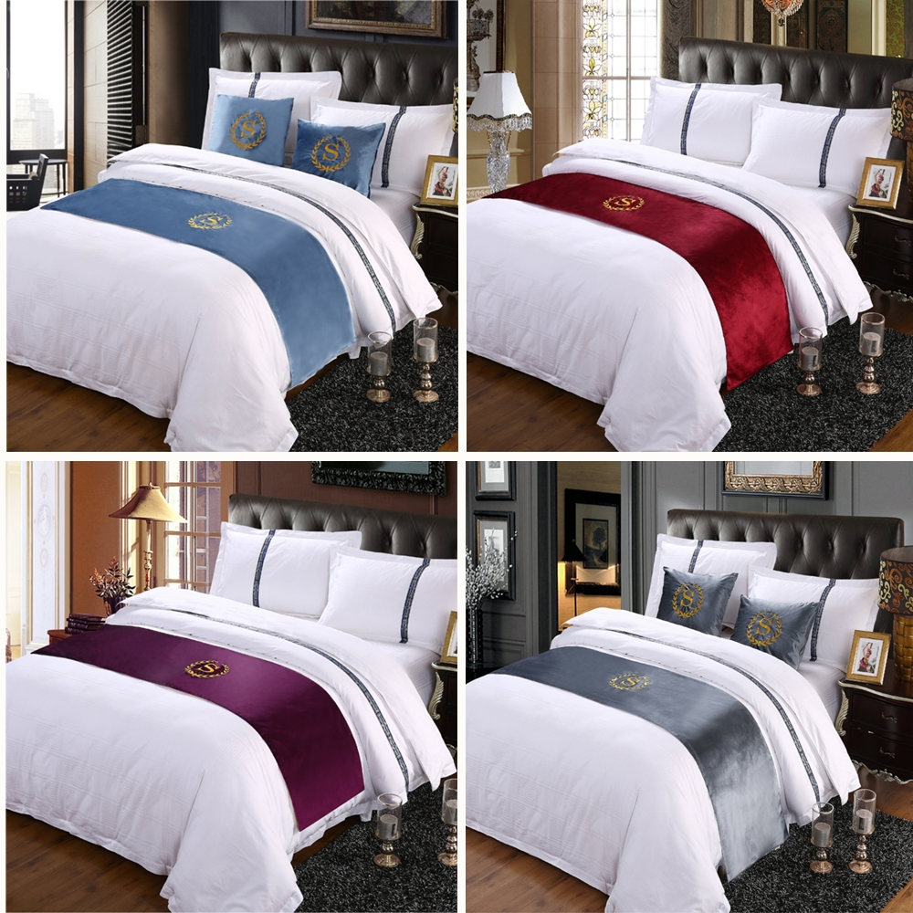 RAYUAN Suede Embroidery S Sign Double Layer Bed Runner Scarf Bedspread Bed Cover Hotel Bedding Decor Single Queen King Size