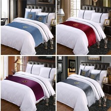 RAYUAN Suede Embroidery S Sign Double Layer Bed Runner Scarf Bedspread Bed Cover Hotel Bedding Decor Single Queen King Size(China)