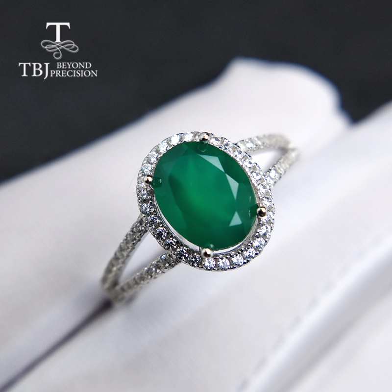 TBJ,Classic natural green agate gemstone Ring in 925 sterling silver simple elegant charming jewelry for women girls daily wear цена