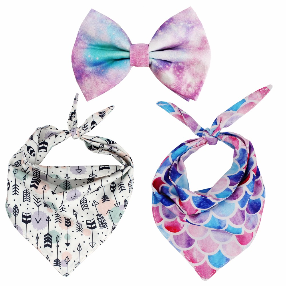mermaid Bandana Reversible dog Bandana bow tie Pet Dog Accessory for Gifts