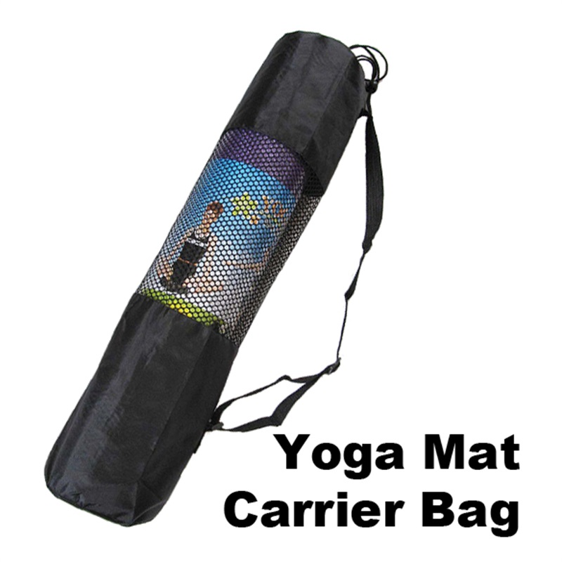 Mesh Yoga Bag Black Portable Case Nylon Pilates Carrier Mesh Adjustable Strap Yoga Tool Washable Portable Bags (not Include Mat)
