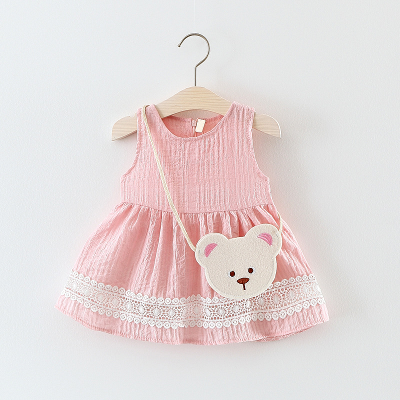2018 new Sleeveless lace work Dress cartoon bay solid Baby Clothes o-neck Clothing Kids zipper solid casual Dresses for girls