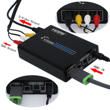 2Pcs/Lot HDMI to Composite / AV S-Video Converter RCA CVBS/L/R Video Converter Adapter PAL / NTSC CVBS / S-Video Switch 1080P цена и фото