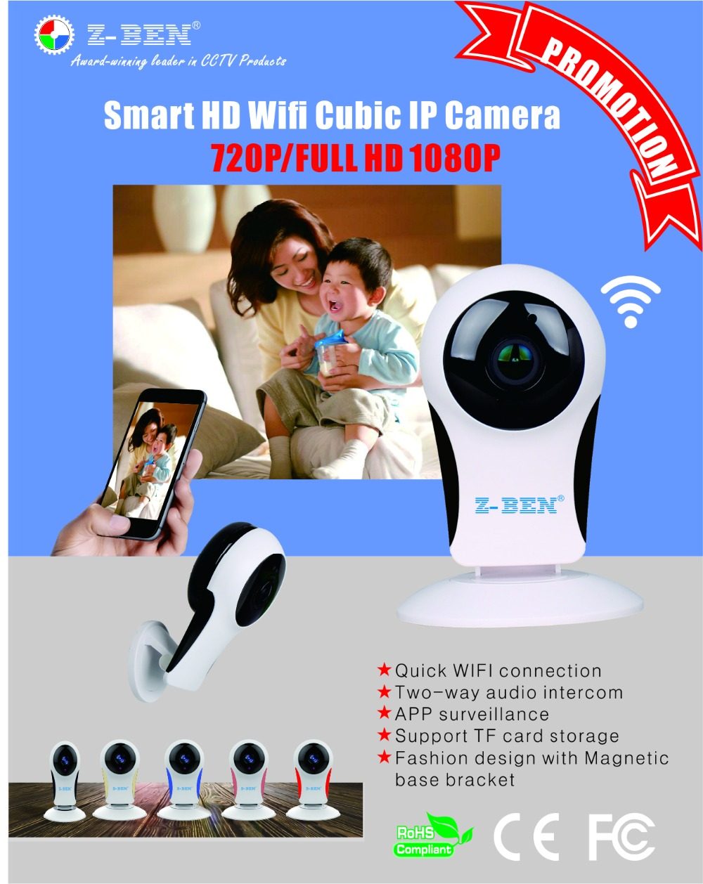 Z-BEN Wifi IP Camera P2P IR LED Night Vision HD1080P Audio Video Alarm Smart Home Baby Monitor Surveillnace Safety Fisheye Lens