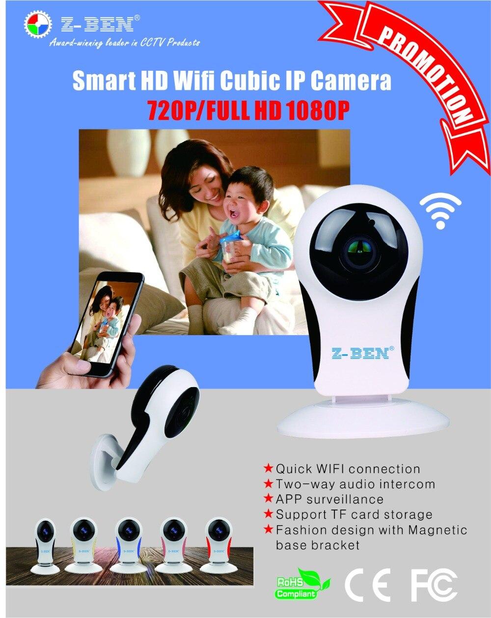 Z-BEN Wifi IP caméra P2P IR LED Vision nocturne HD1080P Audio vidéo alarme intelligente maison bébé moniteur Surveillnace sécurité Fisheye lentille