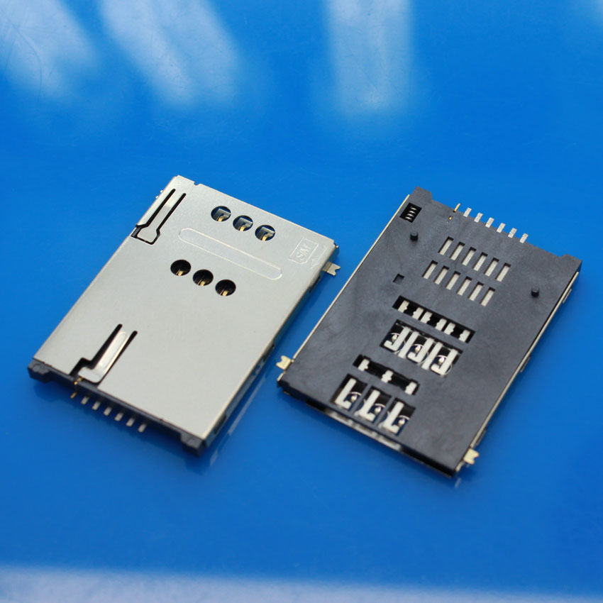 cltgxdd 10pcs/lot New SIM memory card Holder 6+1 7P adapter/connector For phone Tablet PC, SMT Self push