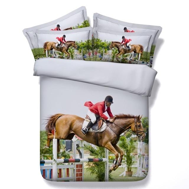 Horse Comforter Bedding Set Horses Design Queen Size Duvet Cover Bed Sheet Quilt Doona Bedset