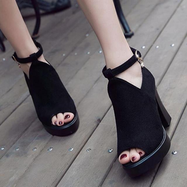 c3fda347 Sandalia romana Plataforma Chunky Abierto Enjaulados Pee Toe Moda Zapatos  Mujer Zapato con Cierre de Tiras