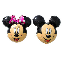 KAMMIZAD Mickey Minnie Balloons 16inch 100pcs/set Aliuminum Foil Air-Filled Children Birthday Party Globos For Kids Gift Toy