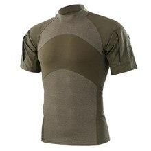 6860974a8e604 Homens Camisetas de Verão Caminhadas Ao Ar Livre Camping Tactical Exército  Verde Esporte Camisetas de Manga