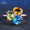 LAMOON 3 pcs 3ct Citrino Amarelo Oval Verde Peridot Topázio Azul 925 sterling-prata-jóias de Casamento em Ouro Rosa anel S925 LMRI002
