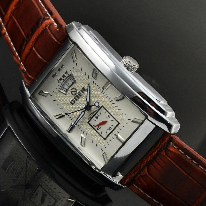 d4171c0a4be Marca Freqüentador Homens Relógio Pulseira De Couro Relógios Mecânicos  Automáticos Homens Relógios Retângulo Auto Data Pequenos Segundos Relogio  masculino ...