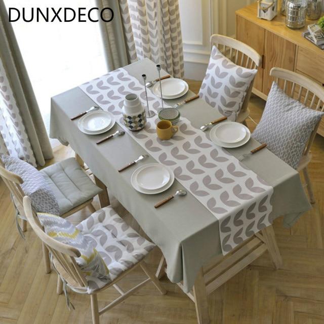 dunxdeco chemin de table en coton m lange nappe partie d coration accessoires de bureau. Black Bedroom Furniture Sets. Home Design Ideas