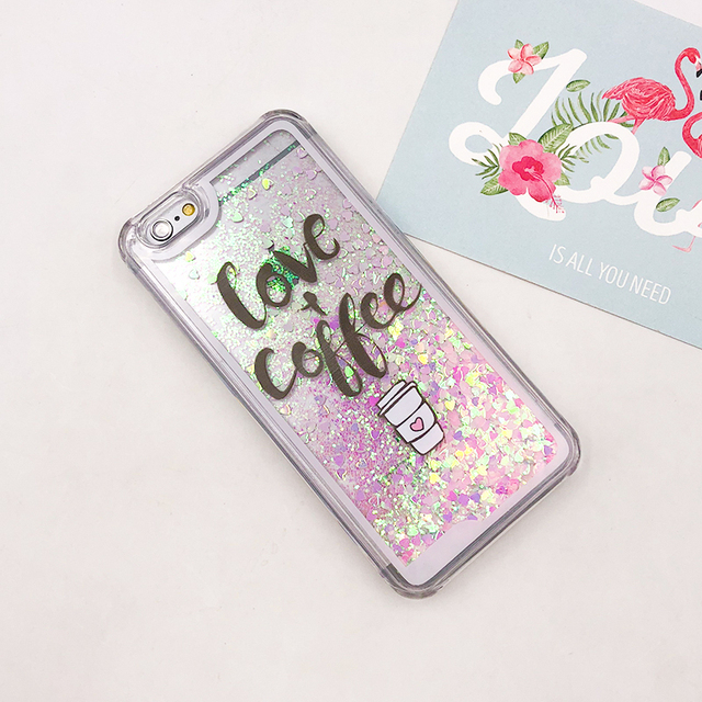 the latest d32b7 76057 US $1.99 |Cute Cartoon Love Of Coffee Glitter Love Liquid Glitter Phone  Cases Transparent TPU Cover Case For iPhone 5 6 6P Soft Cover -in Fitted  Cases ...