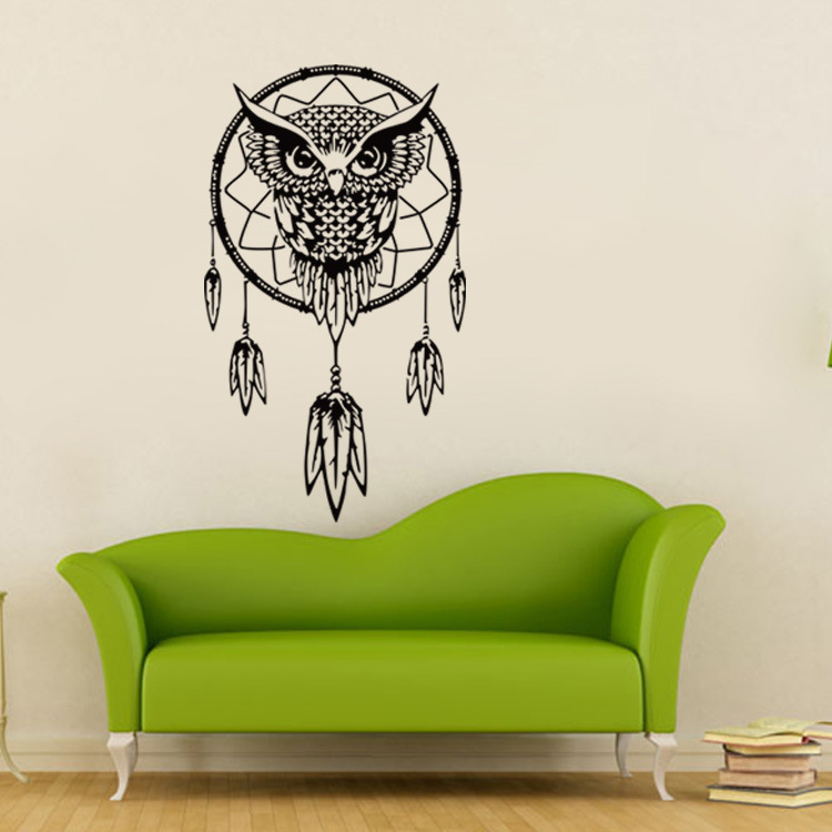 Owl Dream Catcher Big Wall Sticker For Living Rooms Bedroom Home Decor  Office Cafe Stickers Wall Art Decoration Dorm Wallpaper In Wall Stickers  From Home ... Part 24