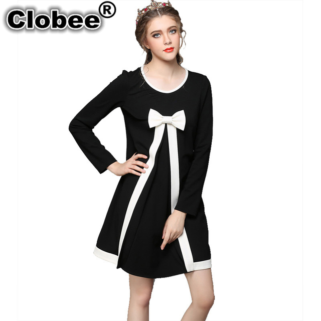 Clobee Plus Size Cute Women Dress 7XL Autumn Black and White Patchwork Bow  Women Vestidos 4XL Elegant Long sleeve Mini Dresses-in Dresses from Women\'s  ...