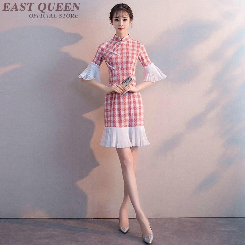 Modern chinese dress tartan clothing qipao short cheongsam for women ladies petite dress 2018 kimono KK2049 Y