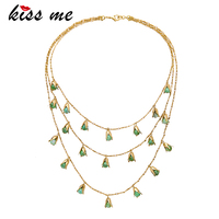 KISS ME White Green Simulated Pearls Necklace Chic Charming Three Layers Pendant Necklace Women Gifts