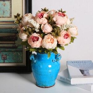Image 2 - Flores artificiales Luyue, guirnalda de peonías Estilo Vintage europeo para boda, flores artificiales de seda, 13 ramas para decoración de fiesta en casa