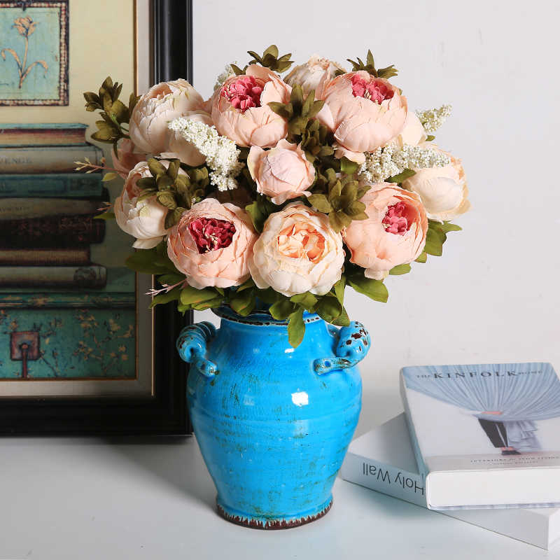 7365d0b9481 Luyue artificial flowers Wedding Vintage European Peony Wreath Silk Fake  Flowers Heads Home Festival Decoration 13 Branches home