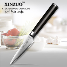 XINZUO 3.5″ inch paring knife 67 layers Japanese Damascus kitchen knife ebony handle  VG10 sharp utility knife free shipping