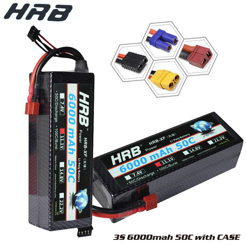 138mmx46mmx39mm Lipo RC Battery 3S 11 1V 6000mah 50C 100C Hard Case for RC Car Boat