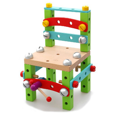Model Building Kits Models & Building Toy Toys & Hobbies Work chair Wooden disassembling educational toys assembled tools 2017