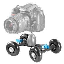 Настольный Мобильный Прокатки Конькобежец Слайдер Долли Автомобилей Видео Железнодорожных Путей для Speedlite DSLR Камеры Видеокамеры Rig (Черный)
