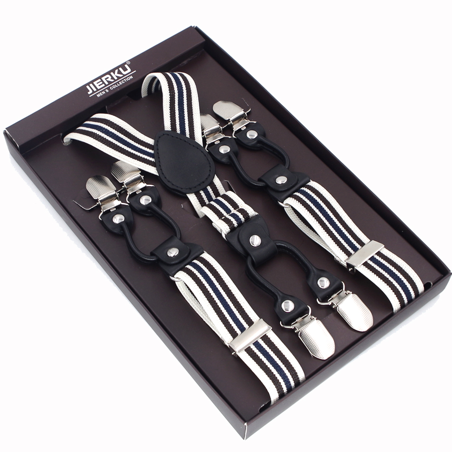 JIERKU Suspenders Man's Braces 6 Clips Black Leather Suspensorio Trousers Strap Father/Husband's Gift Without Box JK6C078