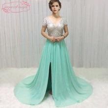 SuperKimJo Perlen Prom Kleider Formale Kleider Mint Green Chiffon A-Linie V-Ausschnitt Abendkleider mit Ärmeln Vestido De Festa