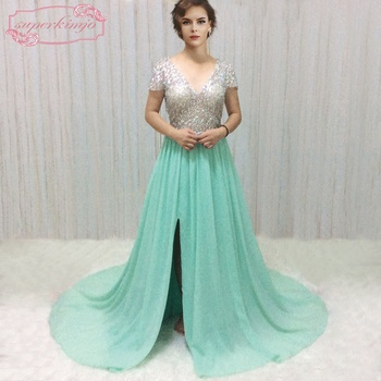 SuperKimJo Beaded Prom Dresses Formal Gowns Mint Green Chiffon A-Line V Neck Prom Gowns with Sleeves Vestido De Festa dk bridal v neck mother of the bride dresses 3d floral print beaded sash formal gowns prom dress long vestido de festa dk1804