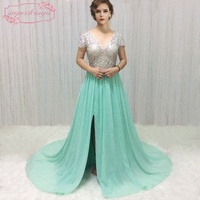 SuperKimJo Beaded Prom Dresses Formal Gowns Mint Green Chiffon A Line V Neck Prom Gowns With
