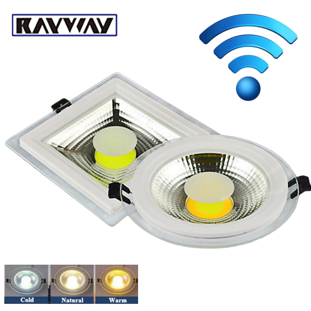 Ceiling Lights & Fans Rayway New Dimmable Sync Cob Ceiling Down Light Recessed Led Panel Lamp 2.4g Wireless Remote Glass Indoor Downlights Ac85v-265v