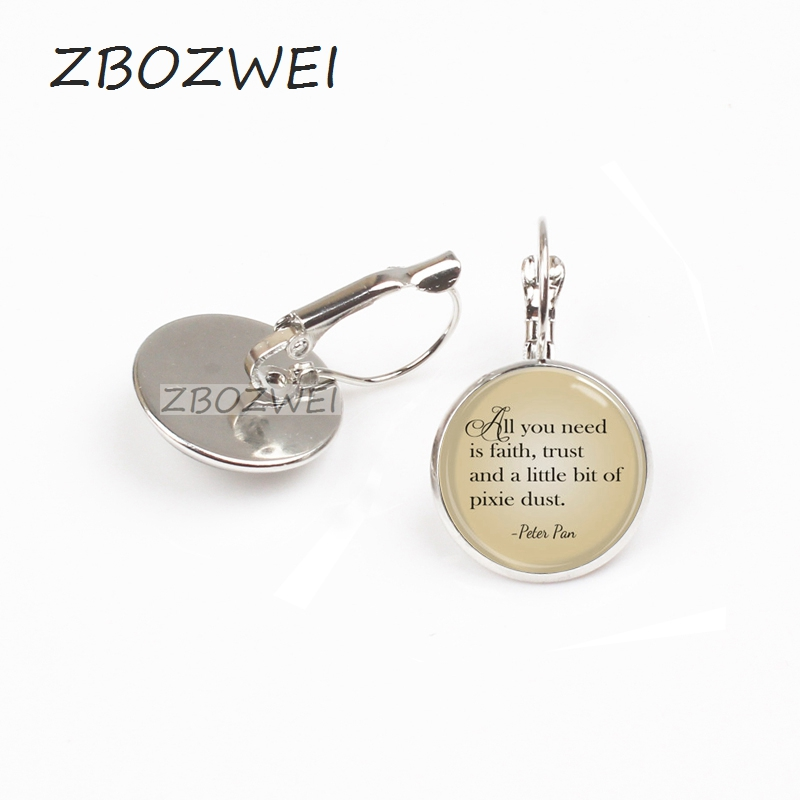 New Hot Peter Pan Quote Jewelry Earring All You Need Is Faith Trust