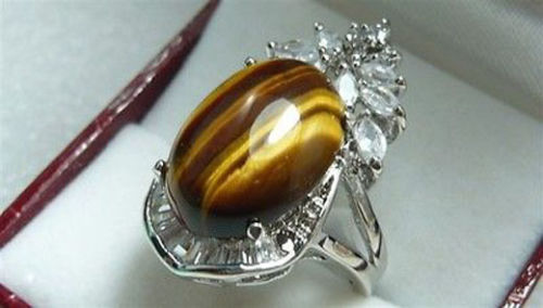 Free shipping > >>>Really noble Tigers Eye Oval & Crystal Ring size 6-9# rings