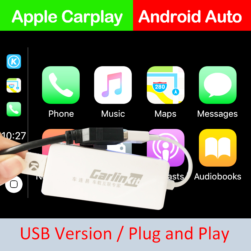 Carlinkit USB Smart Link Apple CarPlay Dongle til Android Navigationsspiller Mini USB Carplay Stick med Android Auto