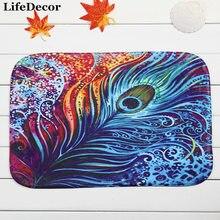 Good New 40x60cm Peacock Feather Bath Mat Non Slip Mats Quality Coral Velvet Rug  Shower Carpet For Bathroom Kitchen