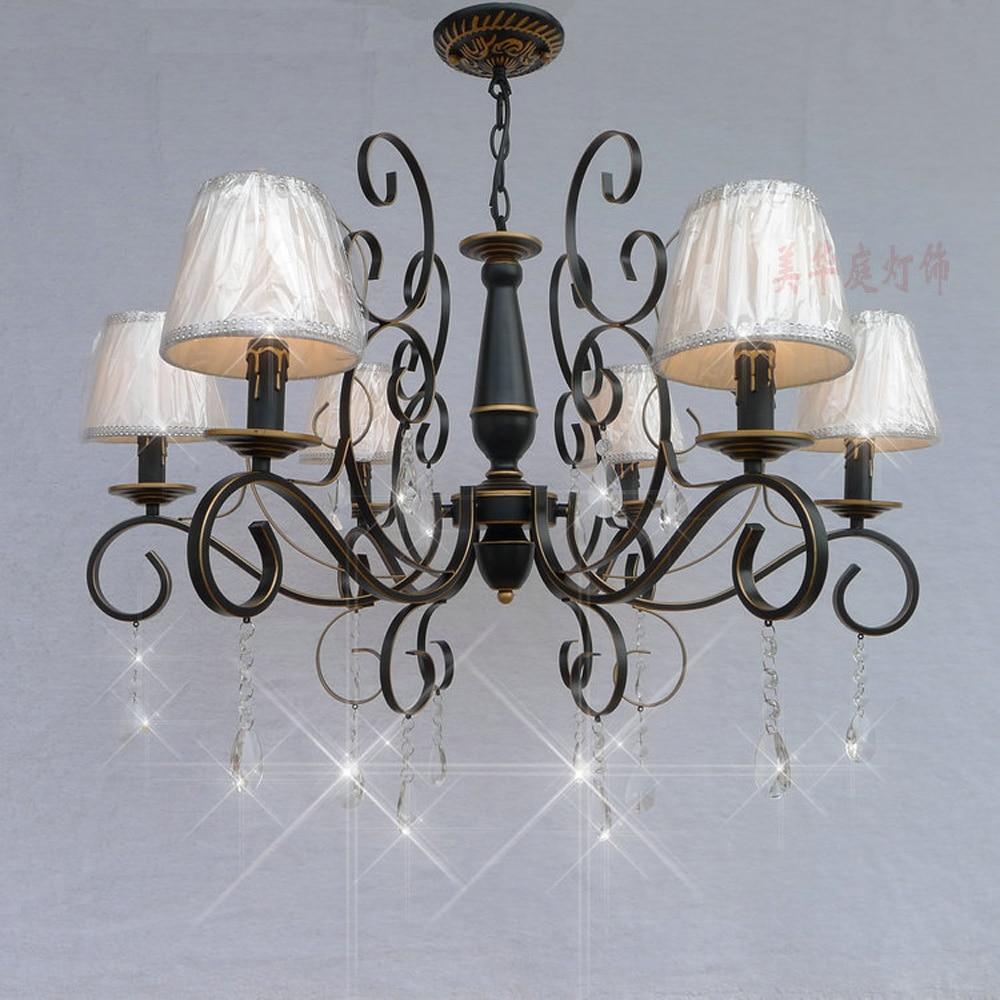 Nordic Vintage Crystal Chandelier with Shade 110V/220v LED Bulb E14 Loft Lamps Modern Dining Room Chandeliers Suppliers