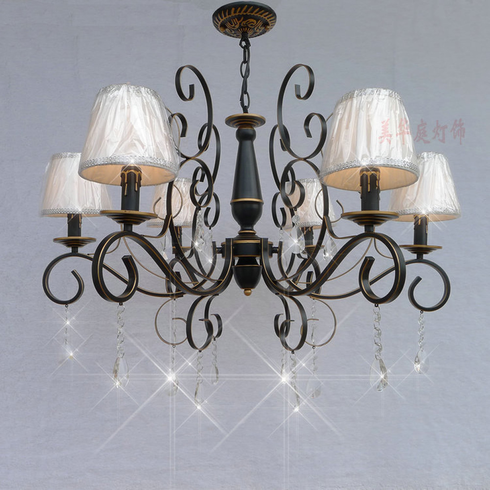 Nordic Vintage Crystal Chandelier with Shade 110V/220v LED Bulb E14 Loft Lamps Modern Di ...